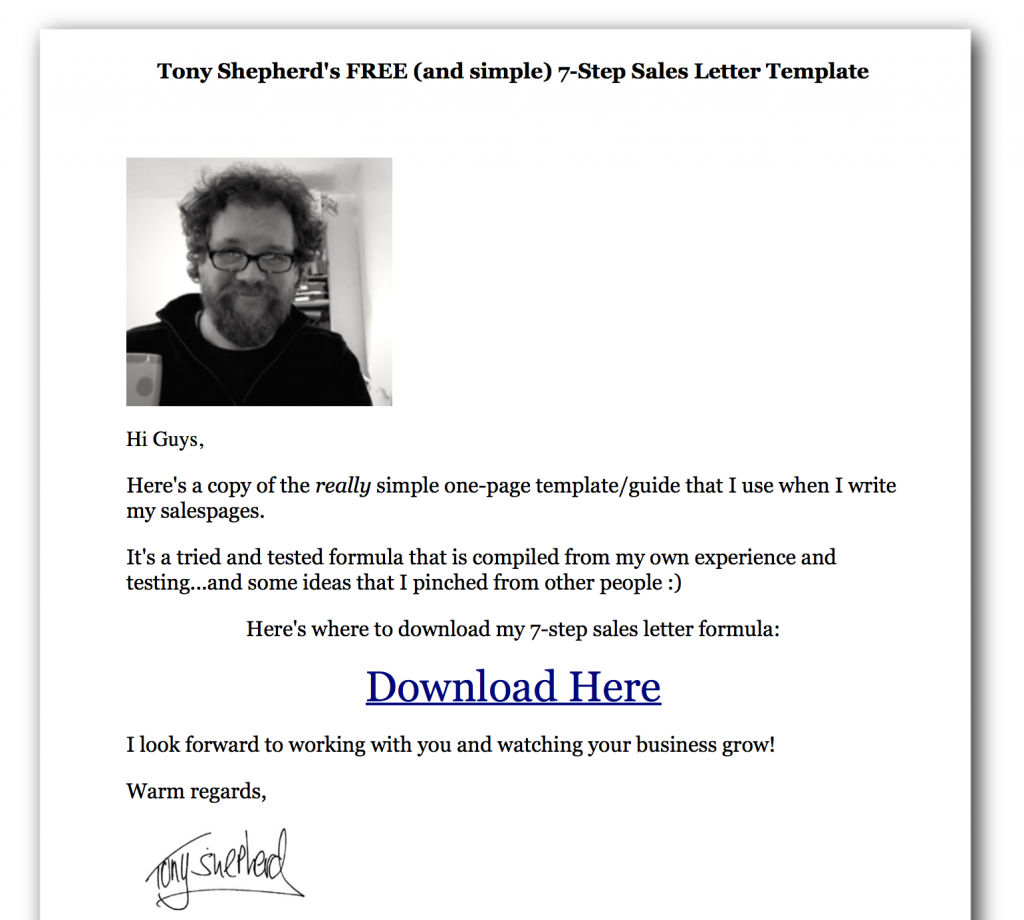FREE sales page cheat sheet copy template blueprint